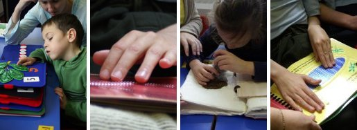 Pictures showing children reading tactile books